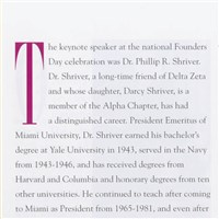 Dr. Shriver's speech on Founders Day, 2002