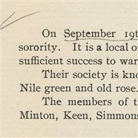 Delta Zeta's founding announcement in the 1902 The Miami Student Excerpt