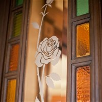 Roses in Glass Panel