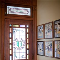 Stained Glass Door with Crest
