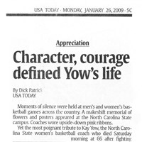 Character, courage defined Yow's life